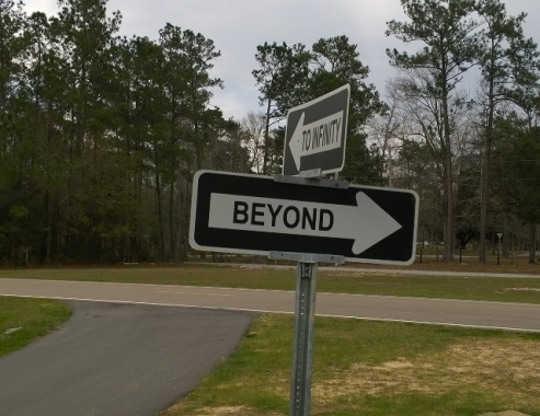Traffic sign on exit - To Infinity and Beyond
