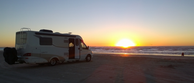 Our Beach campsite at sunrise