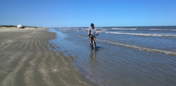 Riding Padre Island beach