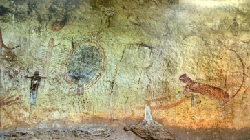 Mural wall in Amistad Visitor Centre of Panther Cave