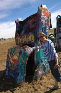 Cadillac Ranch - Sharon leaving her mark!