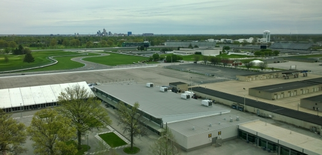 View from the Verizon Pagoda box of downtown Indianapolis