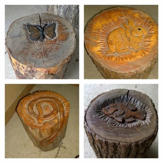 Log Stool Art