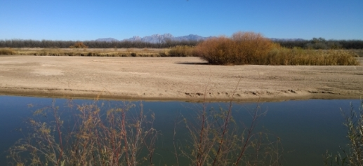 Rio Grande River with Organ Mountains in distance