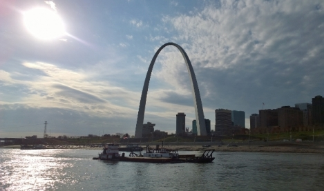 Arch with Dredge Barge in front