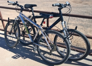 Bikes locked near Mexican border