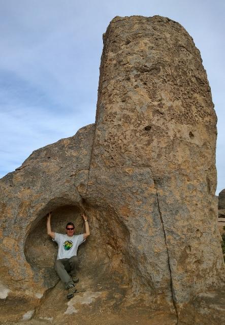 Joel holding up rock
