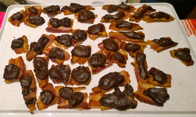 Bacon with chocolate drops