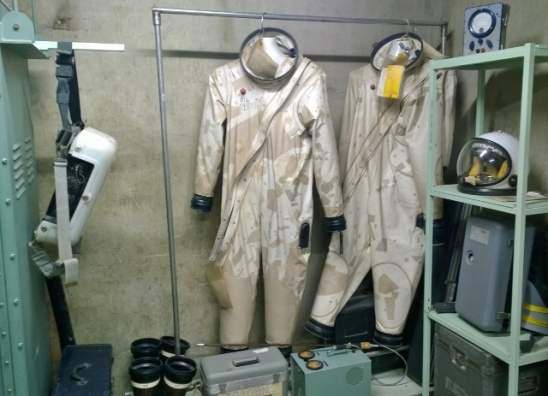 Titan II used Hydrozine and Nitrogen Tetroxide as fuel so the fuel staff had to wear these suits for protection