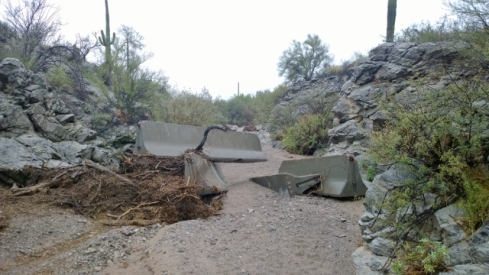 Concrete barriers in wash