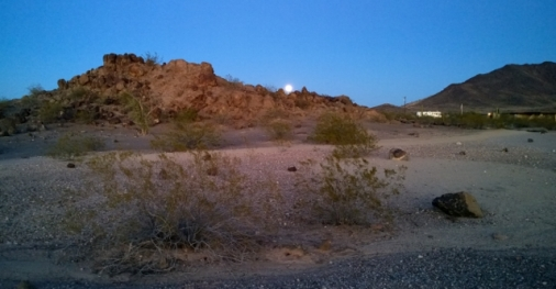 Moon rising over Petroglyph site - from our campsite