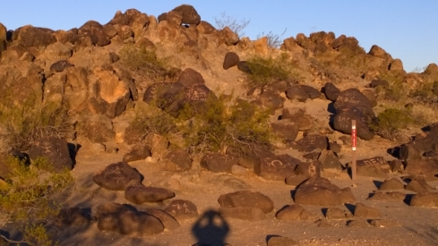 Petroglyphs at sunrise