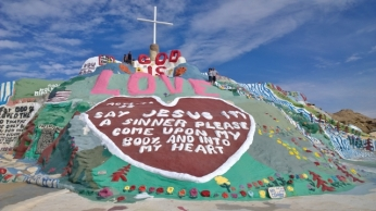 Sharon and Brian on Salvation Mountain