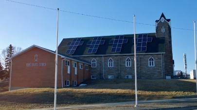 Wawa church with solar panels in cross pattern