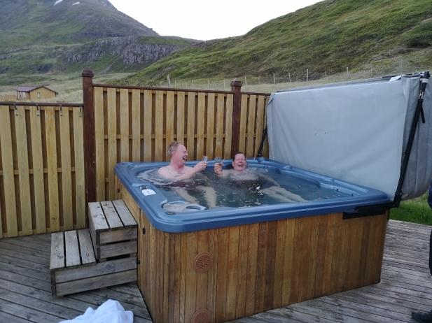 Enjoying some Ardbeg in the hot tub. Girls, join us!