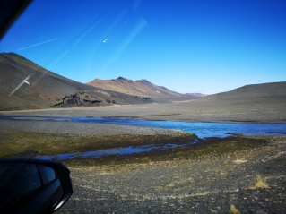 Driving on the plateau towards Dettifoss