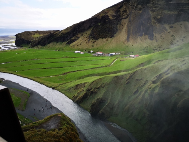 View from top of Skogafoss Waterfall