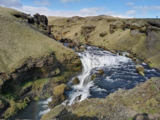 Trail above Skogafoss Waterfall