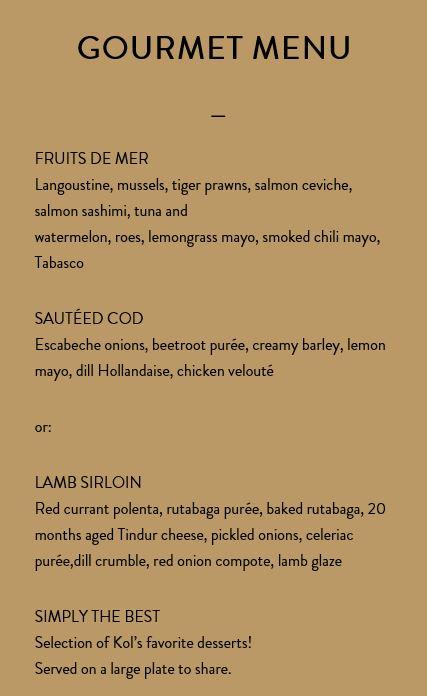 Kol Restaurant menu