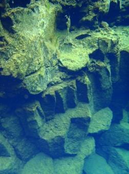 Basalt formations underwater