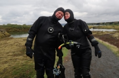 Finished our Silfra snorkel - Sharon's lips are frozen :-)