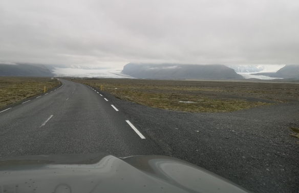 Vatnajokull Glacier tongues across the flood plain