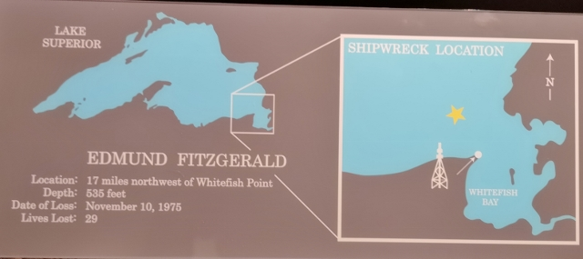 Location of Edmund Fitzgerald off Whitefish Point