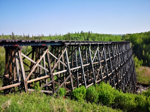 1930 Curved Wooden Trestle Bridge