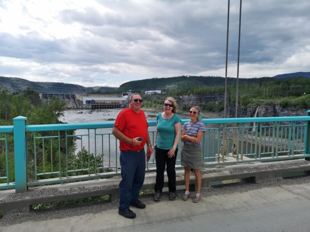 Jim, Sharon, Martha, with Peace Canyon Dam behind