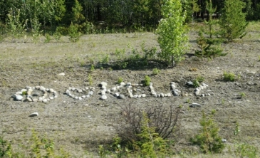 Rock messages along the highway