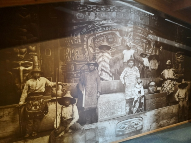 Tlingit men in Whale House