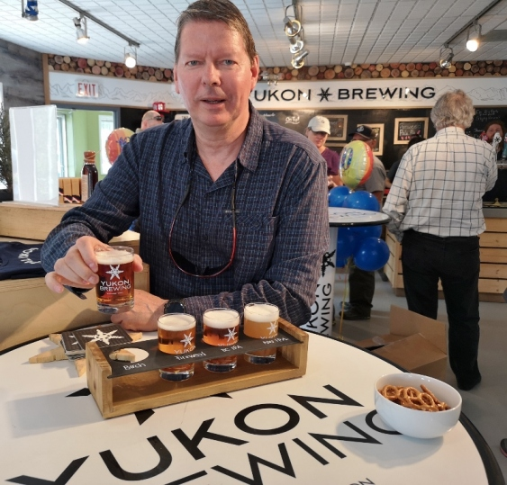 Enjoying a flight of Yukon Brewing Beers