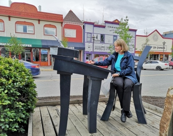 Sharon working hard in downtown Whitehorse