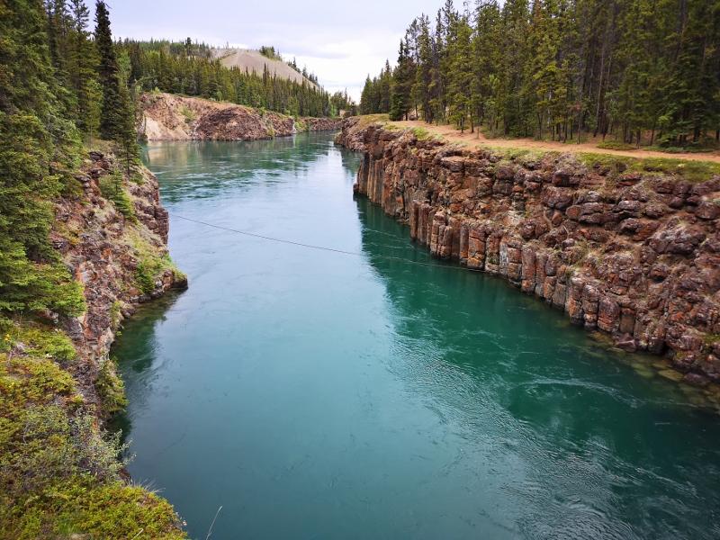 Miles Canyon from suspension bridge - Basalt walls