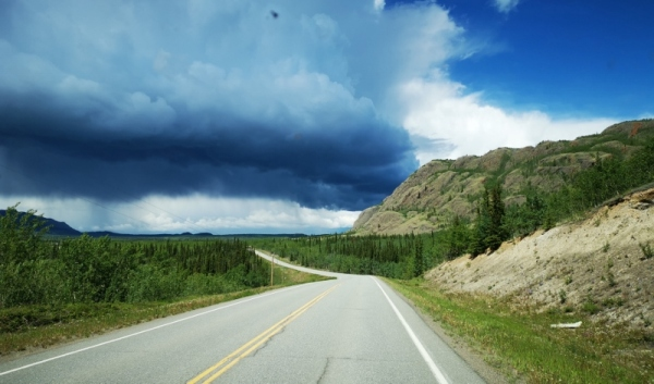 Scary weather on the way to Lake Laberge