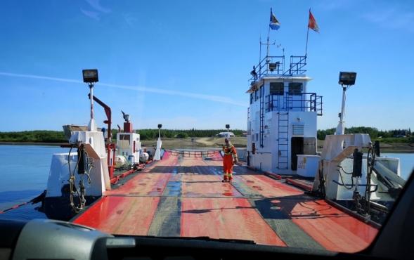 Boarding the Peel River Ferry