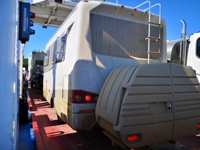 Our dirty RV on the jammed Mackenzie River ferry