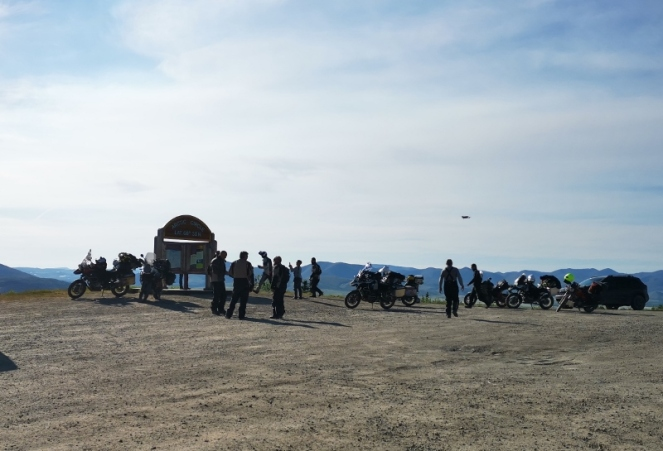 Biker group at the Artic Circle and they even had a drone to take photos