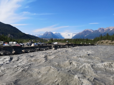 View of Root Glacier from footbridge