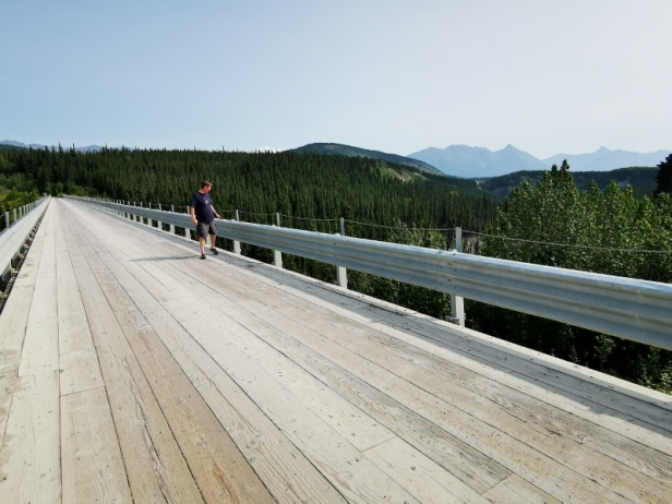 Checking out the top of the bridge