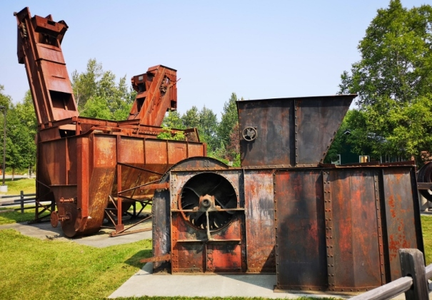 Left is a Coal wash machine and right is a blower fan to cycle air in the coal mine