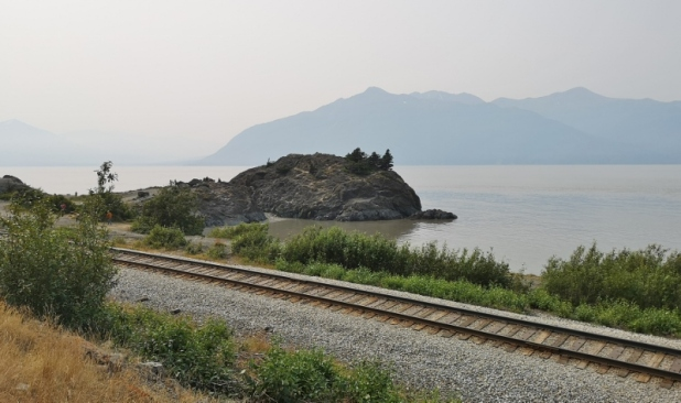 Wayside lookout showing train tracks from Anchorage - Still smoke haze