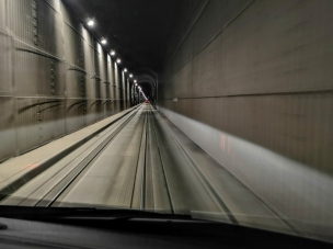 Train Tunnel to Whittier, you need to leave large gaps between vehicles