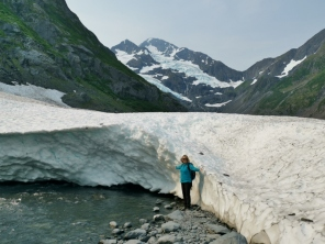 Sharon by snow pack below Byron Glacier