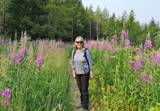 Sharon and her favourite Fireweed Flower