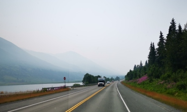 Smoke haze on the drive to Seward
