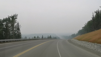 Forest fire haze as we drive the Sterling Highway