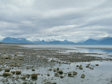 View from the beach along Homer spit where we camped
