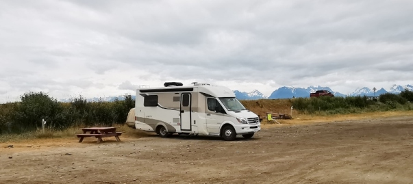 Our campsite by the highway, scenic but lots of traffic noise
