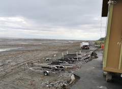 All the boat trailers after morning launch